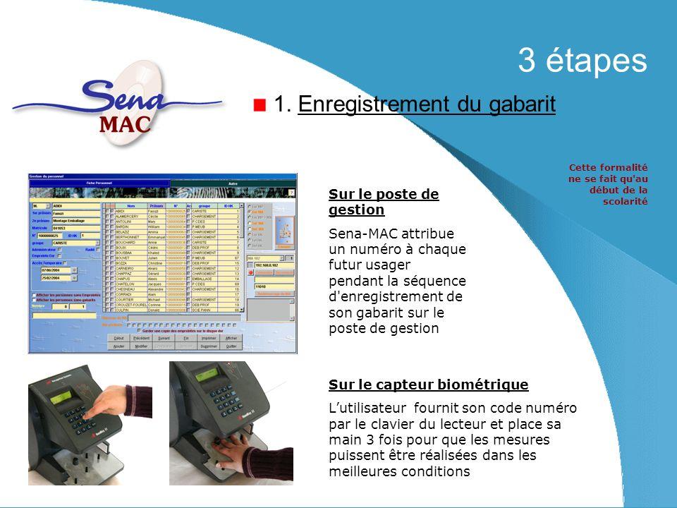 3 étapes Sur le poste de gestion Sena-MAC attribue un numéro à chaque futur usager pendant la séquence d enregistrement de son gabarit sur le poste de gestion Sur le capteur biométrique Lutilisateur fournit son code numéro par le clavier du lecteur et place sa main 3 fois pour que les mesures puissent être réalisées dans les meilleures conditions 1.
