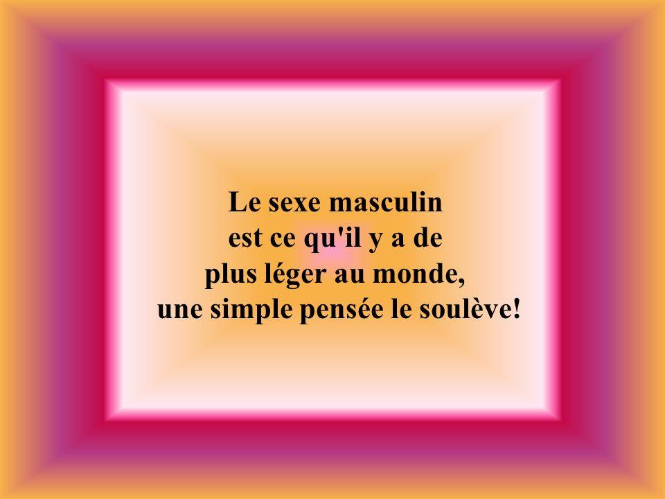 Le sexe masculin est ce qu'il y a de plus léger au monde, une simple pensée le soulève!