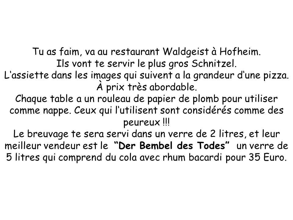 Tu as faim, va au restaurant Waldgeist à Hofheim. Ils vont te servir le plus gros Schnitzel. Lassiette dans les images qui suivent a la grandeur dune