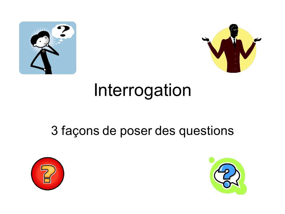 Interrogation 3 façons de poser des questions