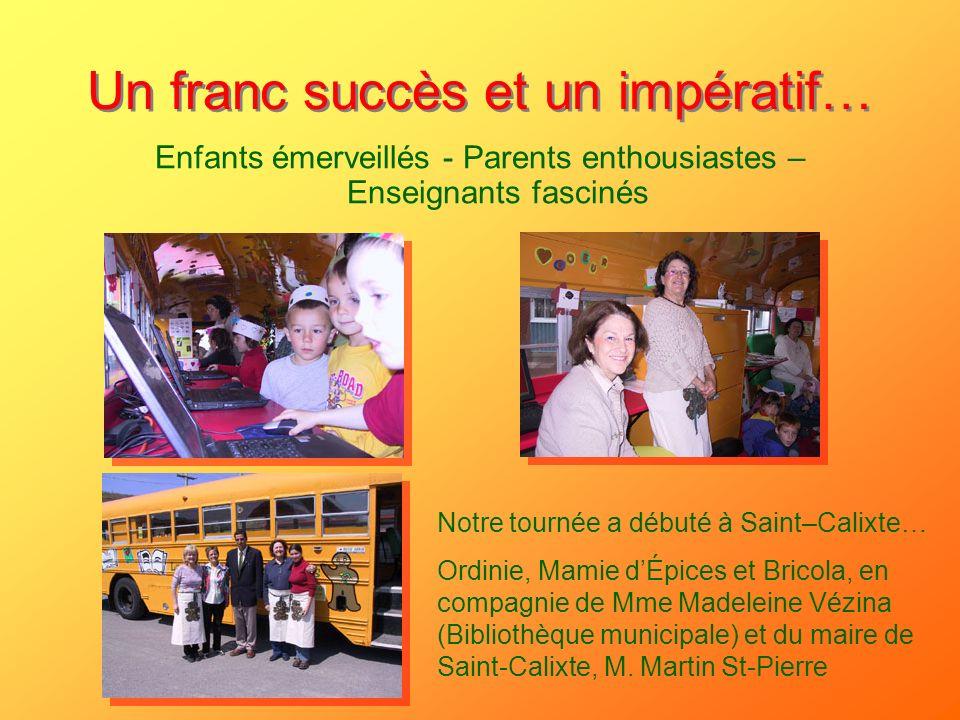 Un franc succès et un impératif… Enfants émerveillés - Parents enthousiastes – Enseignants fascinés Notre tournée a débuté à Saint–Calixte… Ordinie, M