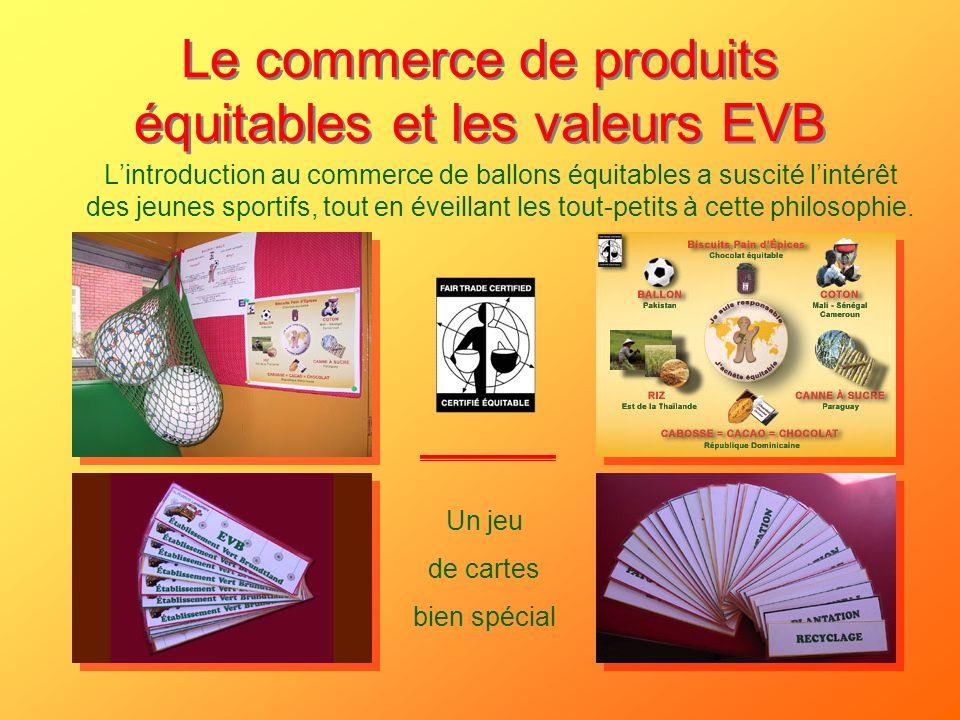 Le commerce de produits équitables et les valeurs EVB Lintroduction au commerce de ballons équitables a suscité lintérêt des jeunes sportifs, tout en