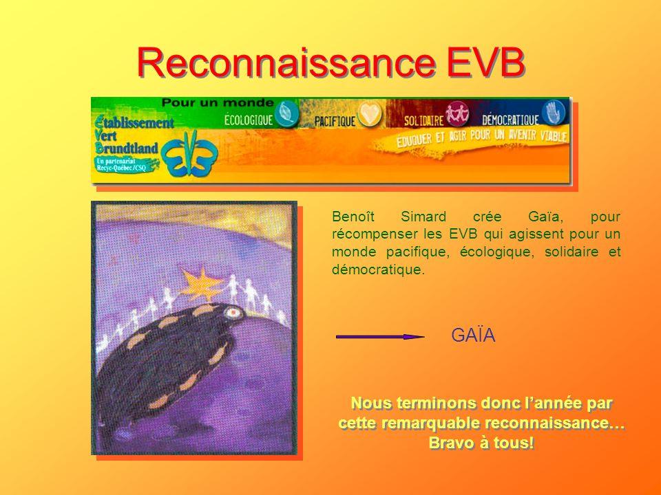 Reconnaissance EVB GAÏA Benoît Simard crée Gaïa, pour récompenser les EVB qui agissent pour un monde pacifique, écologique, solidaire et démocratique.