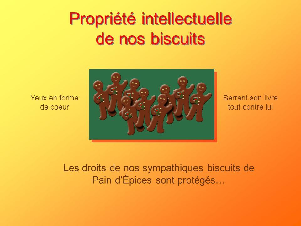 Propriété intellectuelle de nos biscuits Les droits de nos sympathiques biscuits de Pain dÉpices sont protégés… Yeux en forme de coeur Serrant son liv