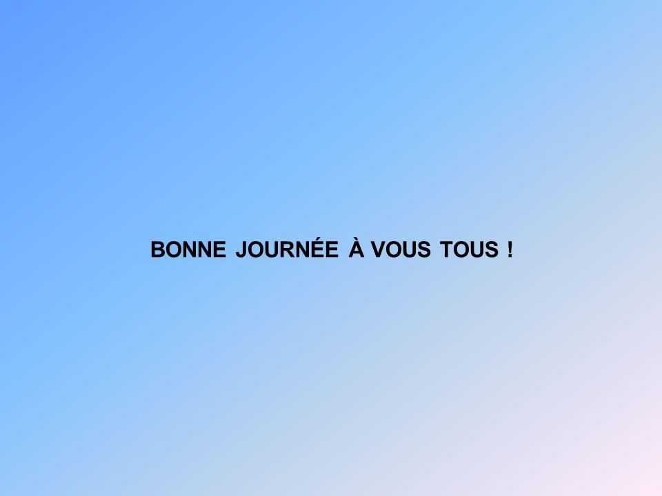 BONNE JOURNÉE À VOUS TOUS !