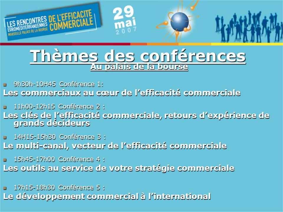 Thèmes des conférences Au palais de la bourse 9h30h-10H45 Conférence 1: 9h30h-10H45 Conférence 1: Les commerciaux au cœur de lefficacité commerciale 11h00-12h15 Conférence 2 : 11h00-12h15 Conférence 2 : Les clés de lefficacité commerciale, retours dexpérience de grands décideurs Les clés de lefficacité commerciale, retours dexpérience de grands décideurs 14H15-15h30 Conférence 3 : 14H15-15h30 Conférence 3 : Le multi-canal, vecteur de lefficacité commerciale 15h45-17h00 Conférence 4 : 15h45-17h00 Conférence 4 : Les outils au service de votre stratégie commerciale 17h15-18h30 Conférence 5 : 17h15-18h30 Conférence 5 : Le développement commercial à linternational