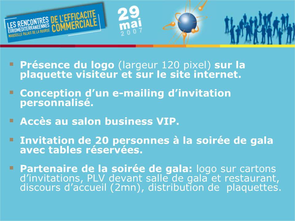Présence du logo (largeur 120 pixel) sur la plaquette visiteur et sur le site internet.