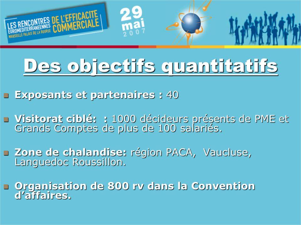 Composantes de lévénement Une convention daffaires : organisation de rendez vous commerciaux programmés sur stands ou espaces dédiés.