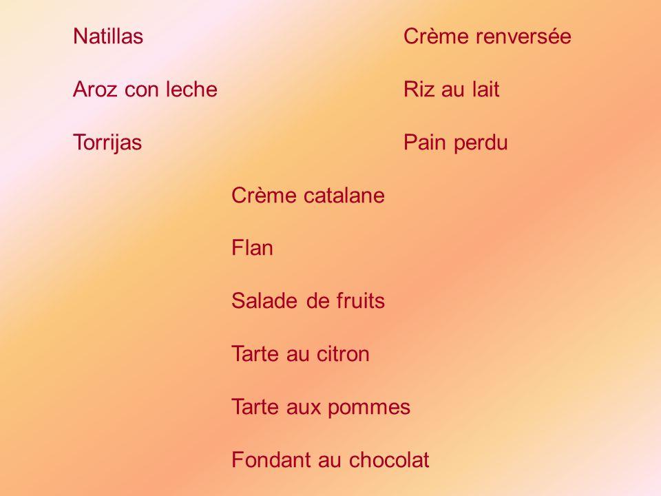 NatillasCrème renversée Aroz con lecheRiz au lait TorrijasPain perdu Crème catalane Flan Salade de fruits Tarte au citron Tarte aux pommes Fondant au chocolat