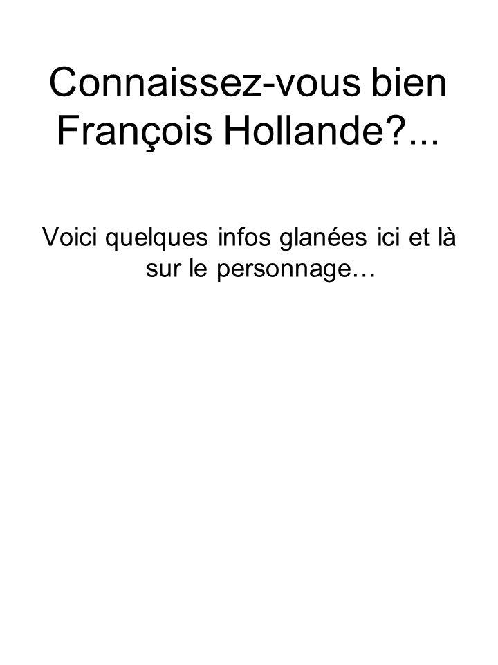 Connaissez-vous bien François Hollande?... Voici quelques infos glanées ici et là sur le personnage…