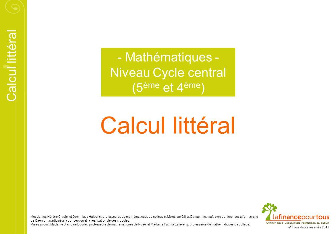 Calcul littéral © Tous droits réservés 2011 Mesdames Hélène Clapier et Dominique Halperin, professeures de mathématiques de collège et Monsieur Gilles