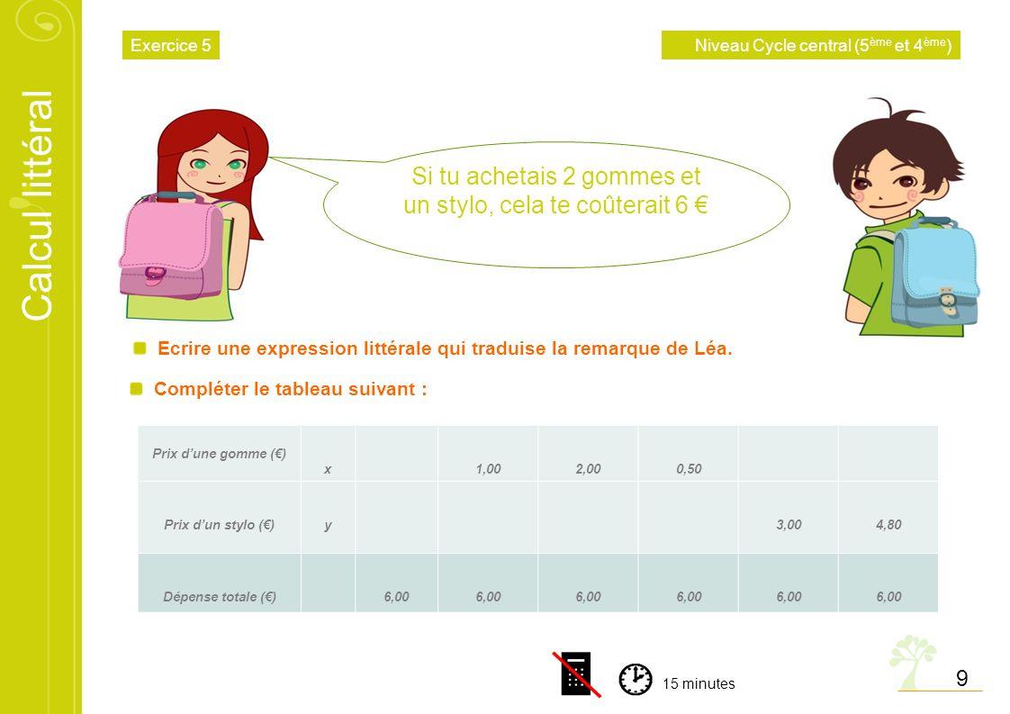 Calcul littéral 9 Ecrire une expression littérale qui traduise la remarque de Léa. Compléter le tableau suivant : Si tu achetais 2 gommes et un stylo,