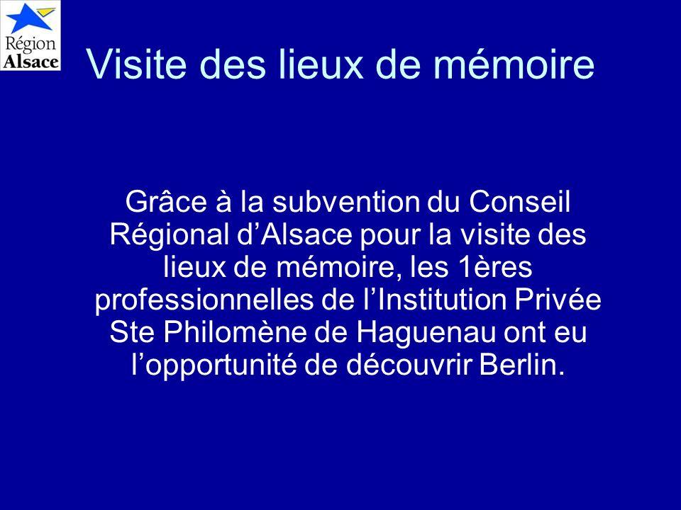 Visite des lieux de mémoire Grâce à la subvention du Conseil Régional dAlsace pour la visite des lieux de mémoire, les 1ères professionnelles de lInst