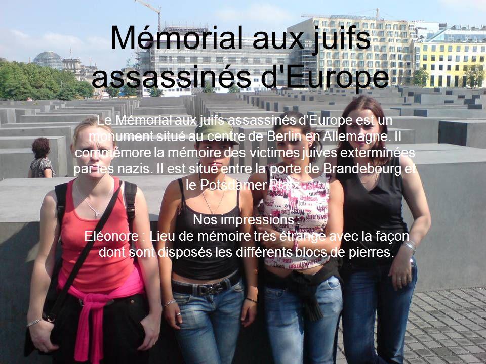 Mémorial aux juifs assassinés d'Europe Le Mémorial aux juifs assassinés d'Europe est un monument situé au centre de Berlin en Allemagne. Il commémore