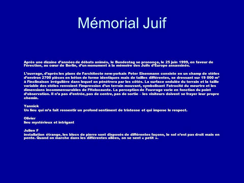 Mémorial Juif Après une dizaine dannées de débats animés, le Bundestag se prononça, le 25 juin 1999, en faveur de lérection, au cœur de Berlin, dun mo