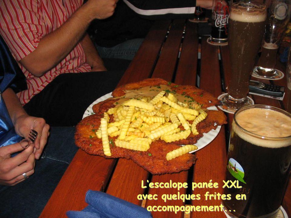 Lescalope panée XXL avec quelques frites en accompagnement...