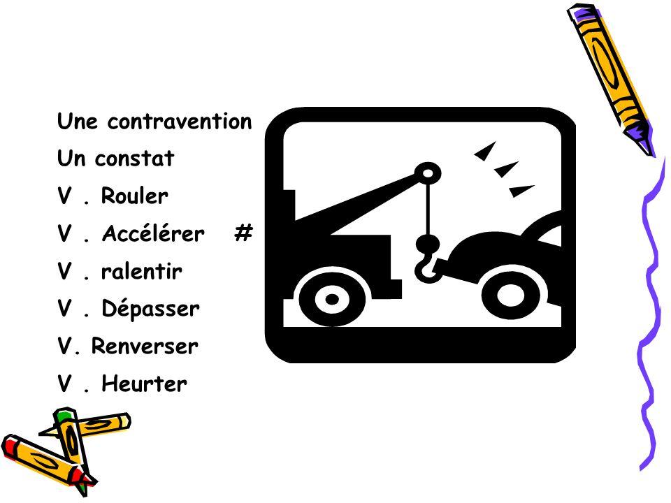 Une contravention Un constat V. Rouler V. Accélérer # V.