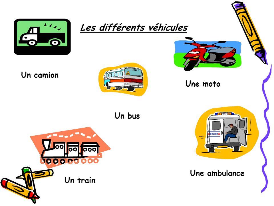 Les différents véhicules Un camion Un train Un bus Une moto Une ambulance