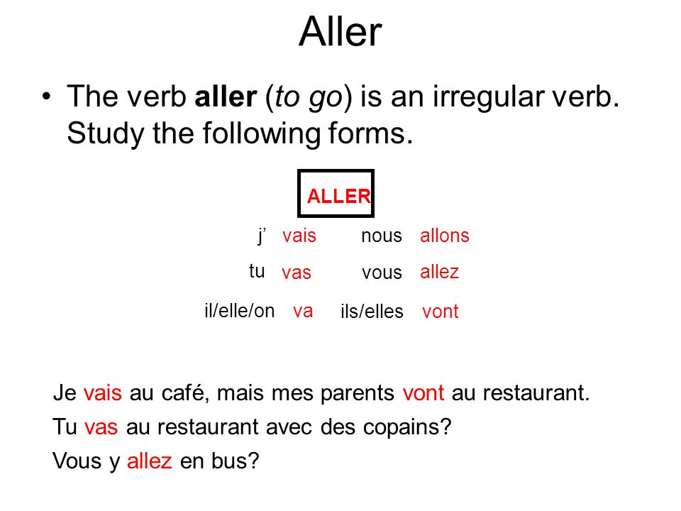 If you do not mention the place you are going to, you must put the word y before the verb aller.