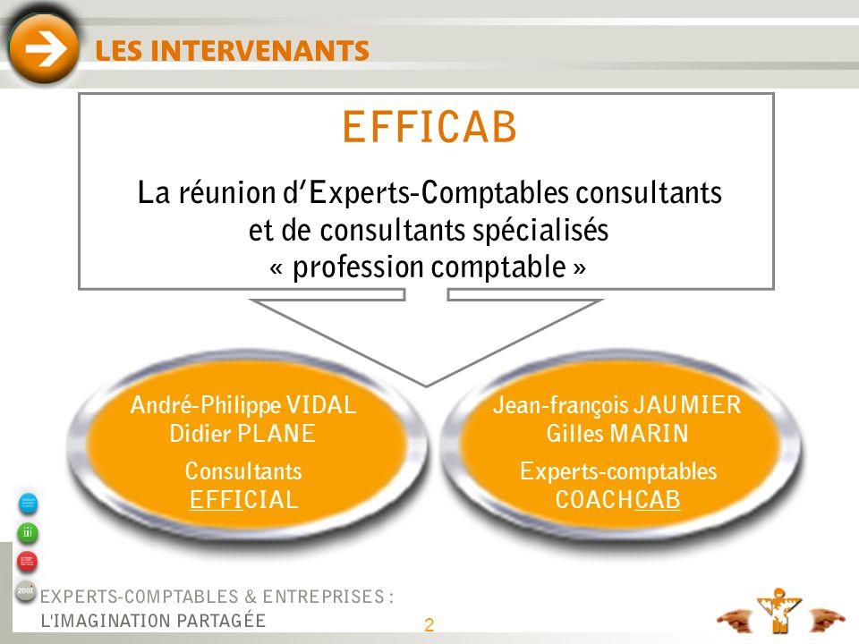 2 LES INTERVENANTS Jean-françois JAUMIER Gilles MARIN Experts-comptables COACHCAB André-Philippe VIDAL Didier PLANE Consultants EFFICIAL EFFICAB La ré