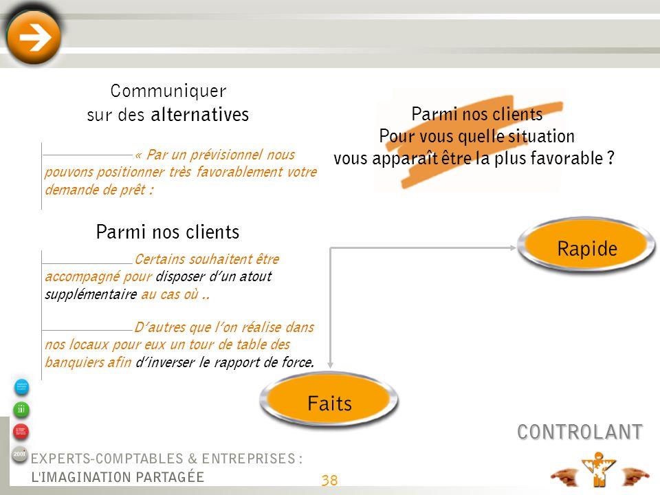 38 RapideFaits CONTROLANT Communiquer sur des alternatives « Par un prévisionnel nous pouvons positionner très favorablement votre demande de prêt : P