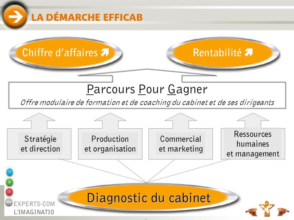 4 LA DÉMARCHE EFFICAB Rentabilité Chiffre daffaires Diagnostic du cabinet Stratégie et direction Ressources humaines et management Commercial et marke