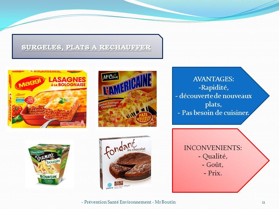 - Prévention Santé Environnement - Mr Boutin11 SURGELES, PLATS A RECHAUFFER AVANTAGES: -Rapidité, - découverte de nouveaux plats, - Pas besoin de cuis