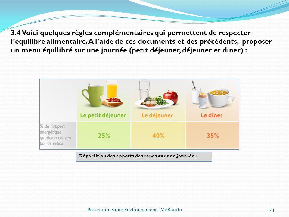 - Prévention Santé Environnement - Mr Boutin24 3.4 Voici quelques règles complémentaires qui permettent de respecter léquilibre alimentaire. A laide d