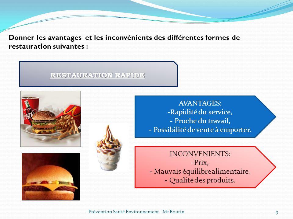 - Prévention Santé Environnement - Mr Boutin10 RESTAURATION TRADITIONNELLE AVANTAGES: -Qualité des produits, - Découverte de nouveaux plats, - Pas besoin de cuisiner.