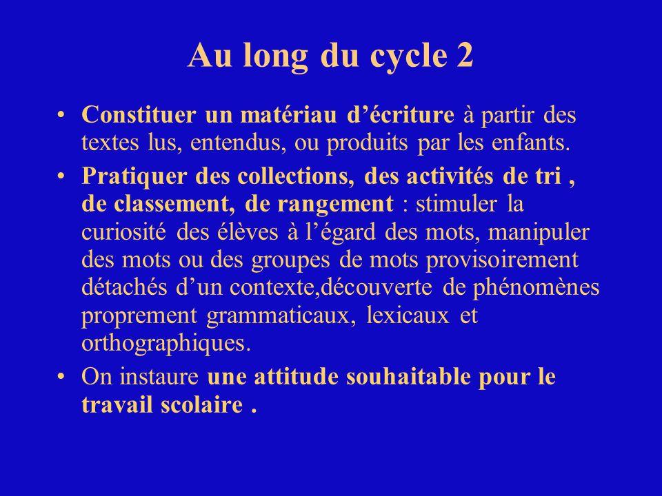 Au long du cycle 2 Constituer un matériau décriture à partir des textes lus, entendus, ou produits par les enfants. Pratiquer des collections, des act