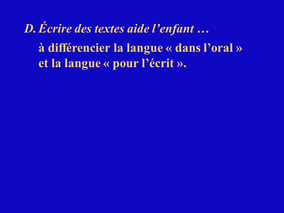 D.Écrire des textes aide lenfant … à différencier la langue « dans loral » et la langue « pour lécrit ».