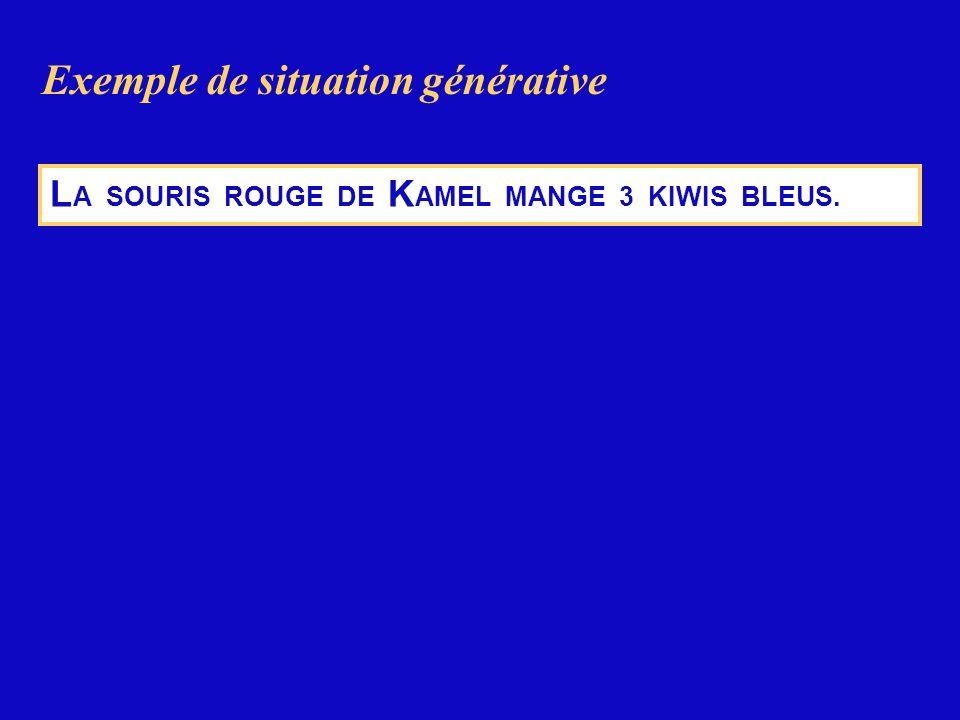 L A SOURIS ROUGE DE K AMEL MANGE 3 KIWIS BLEUS. Exemple de situation générative