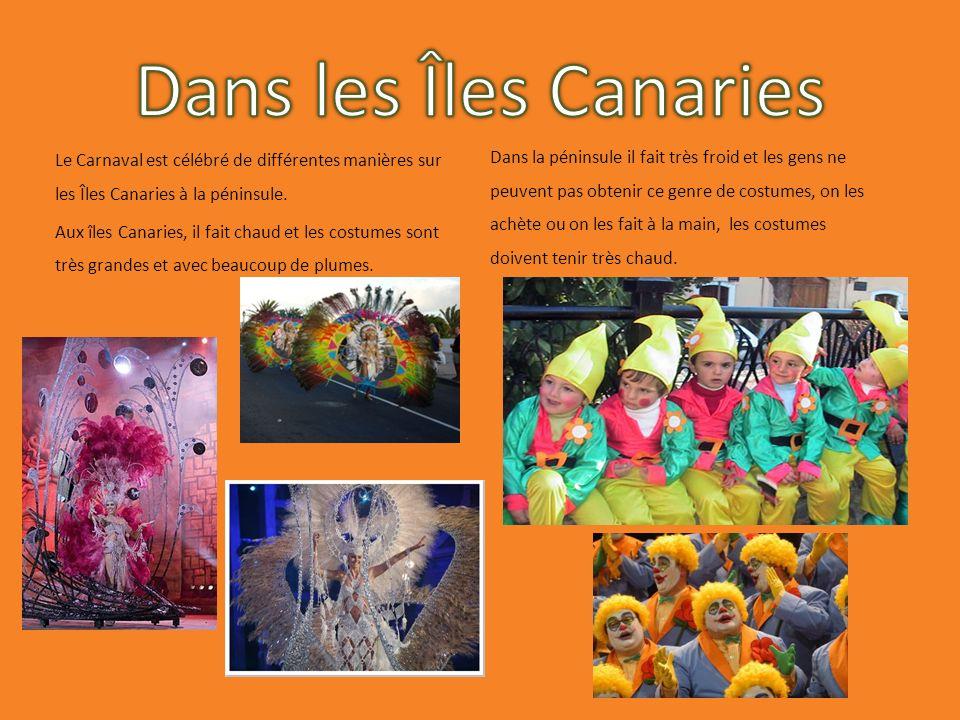 Le Carnaval est célébré de différentes manières sur les Îles Canaries à la péninsule. Aux îles Canaries, il fait chaud et les costumes sont très grand