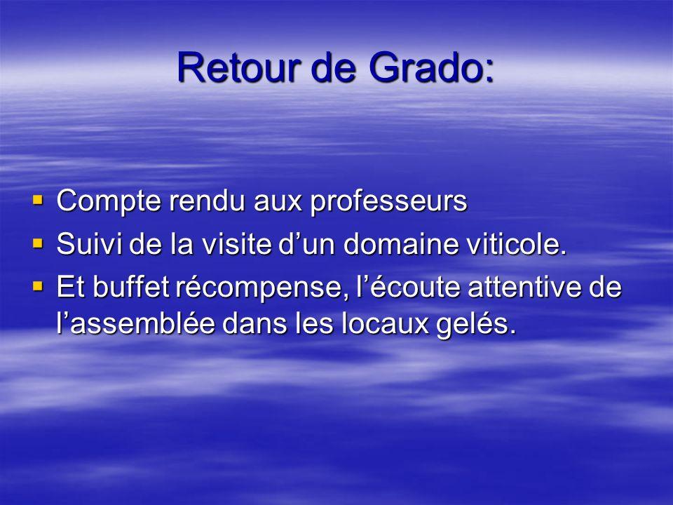 Retour de Grado: Compte rendu aux professeurs Compte rendu aux professeurs Suivi de la visite dun domaine viticole. Suivi de la visite dun domaine vit