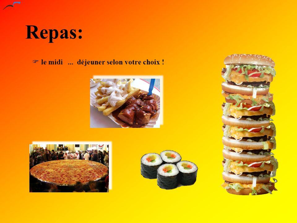 Repas: le midi... déjeuner selon votre choix !