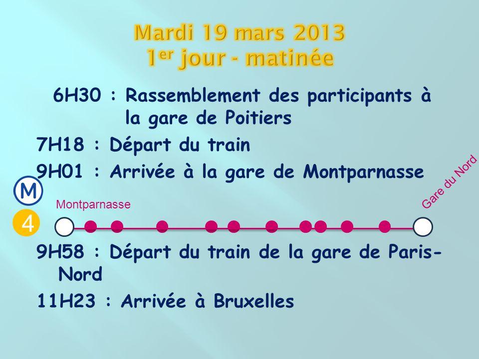 6H30 : Rassemblement des participants à la gare de Poitiers 7H18 : Départ du train 9H01 : Arrivée à la gare de Montparnasse 9H58 : Départ du train de