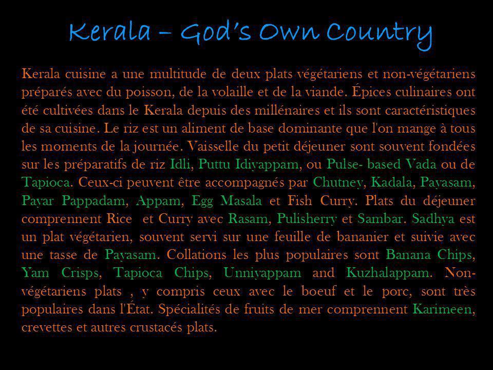 Kerala – Gods Own Country Kerala cuisine a une multitude de deux plats végétariens et non-végétariens préparés avec du poisson, de la volaille et de l