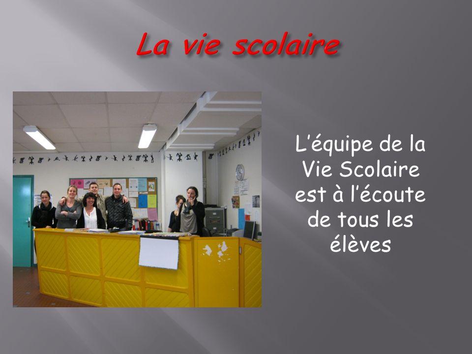 Léquipe de la Vie Scolaire est à lécoute de tous les élèves
