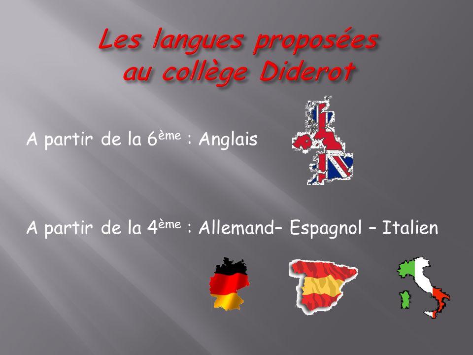 A partir de la 6 ème : Anglais A partir de la 4 ème : Allemand– Espagnol – Italien