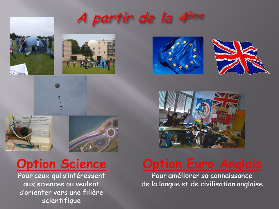 Option Science Pour ceux qui sintéressent aux sciences ou veulent sorienter vers une filière scientifique Option Euro Anglais Pour améliorer sa connai
