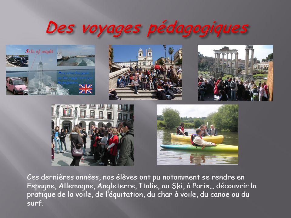 Ces dernières années, nos élèves ont pu notamment se rendre en Espagne, Allemagne, Angleterre, Italie, au Ski, à Paris… découvrir la pratique de la voile, de léquitation, du char à voile, du canoë ou du surf.