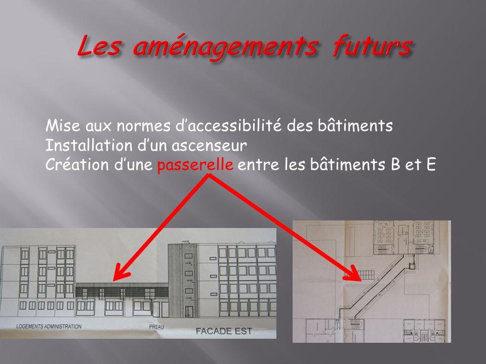 Mise aux normes daccessibilité des bâtiments Installation dun ascenseur Création dune passerelle entre les bâtiments B et E