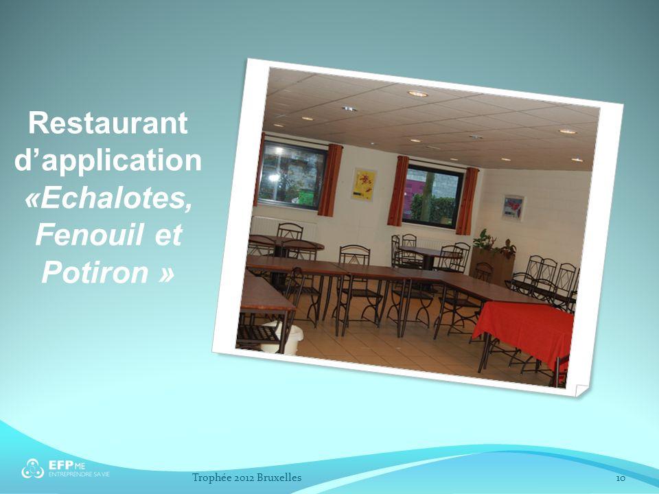 Restaurant dapplication «Echalotes, Fenouil et Potiron » 10Trophée 2012 Bruxelles