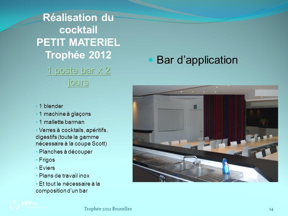 Réalisation du cocktail PETIT MATERIEL Trophée 2012 1 poste bar x 2 jours 1 blender 1 machine à glaçons 1 mallette barman Verres à cocktails, apéritif