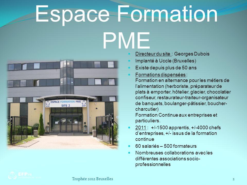 Espace Formation PME Directeur du site : Georges Dubois Implanté à Uccle (Bruxelles) Existe depuis plus de 50 ans Formations dispensées : Formation en