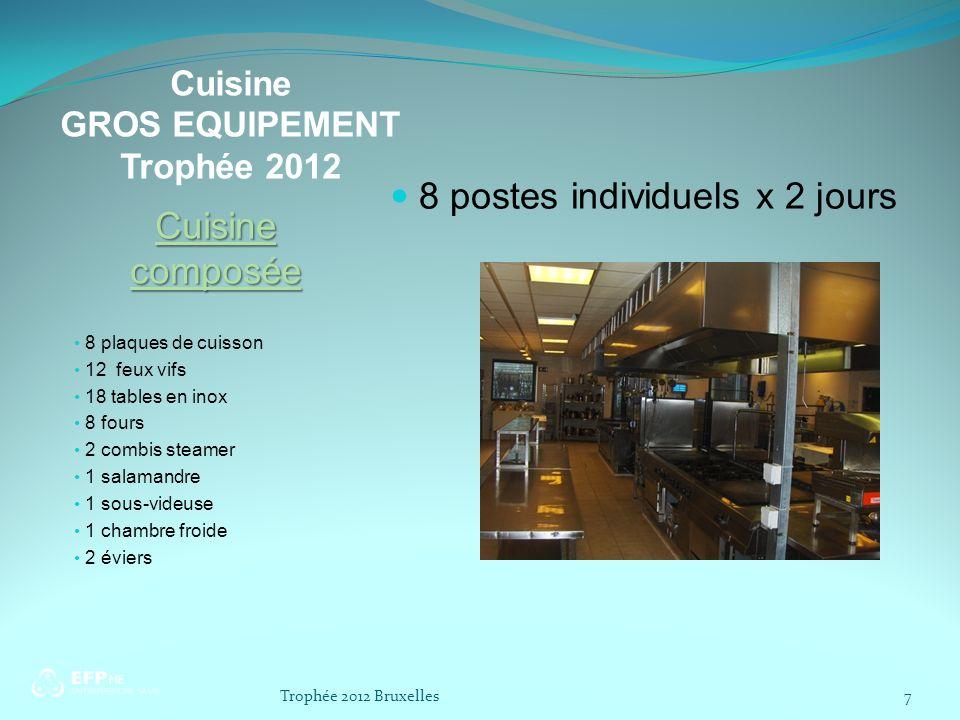 Cuisine GROS EQUIPEMENT Trophée 2012 Cuisine composée 8 plaques de cuisson 12 feux vifs 18 tables en inox 8 fours 2 combis steamer 1 salamandre 1 sous