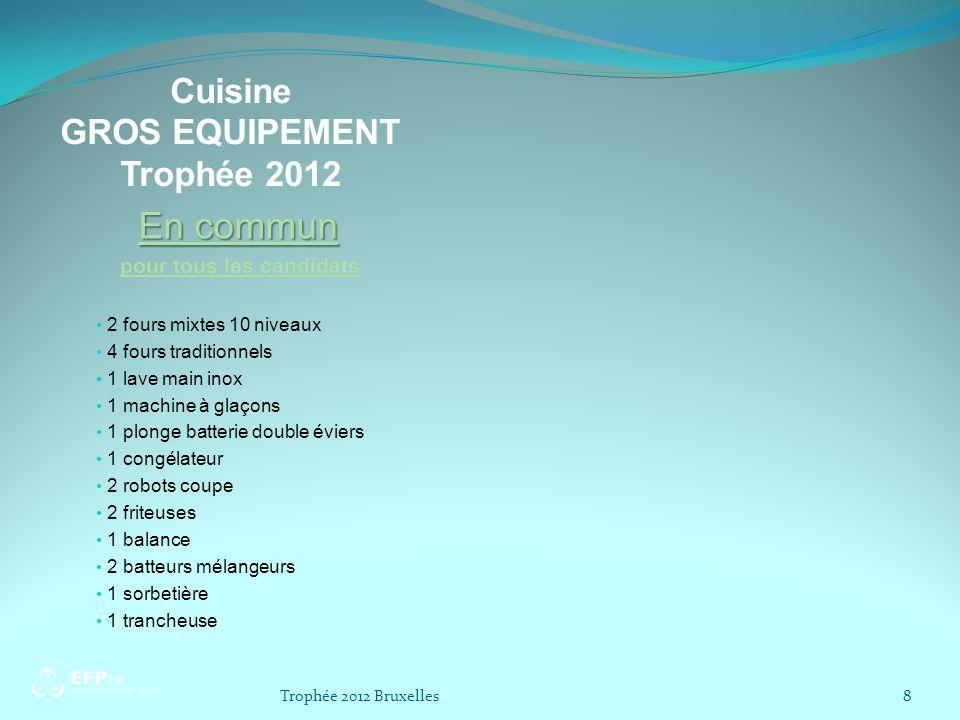 Cuisine GROS EQUIPEMENT Trophée 2012 En commun pour tous les candidats 2 fours mixtes 10 niveaux 4 fours traditionnels 1 lave main inox 1 machine à gl