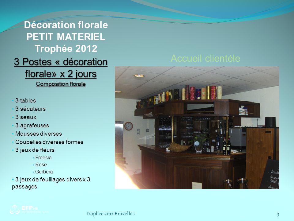 Décoration florale PETIT MATERIEL Trophée 2012 3 Postes « décoration florale» x 2 jours Composition florale 3 tables 3 sécateurs 3 seaux 3 agrafeuses
