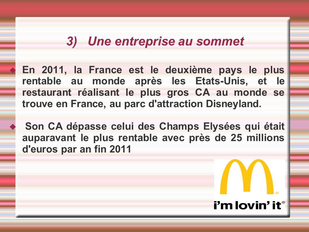 3) Une entreprise au sommet En 2011, la France est le deuxième pays le plus rentable au monde après les Etats-Unis, et le restaurant réalisant le plus