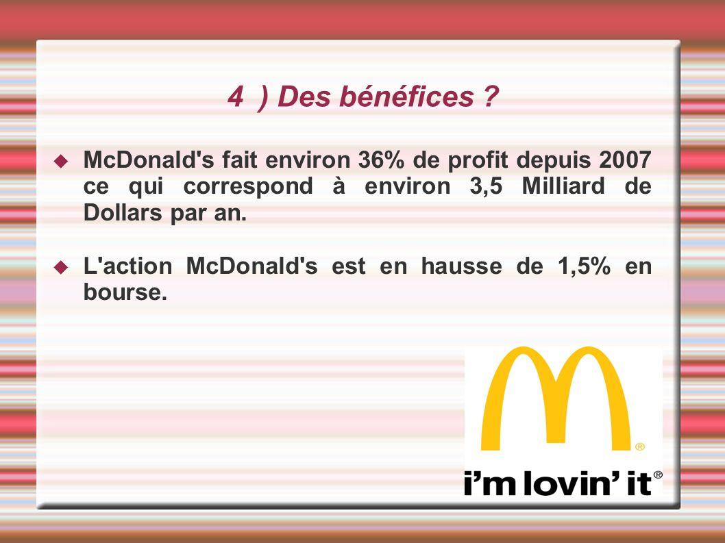4 ) Des bénéfices ? McDonald's fait environ 36% de profit depuis 2007 ce qui correspond à environ 3,5 Milliard de Dollars par an. L'action McDonald's